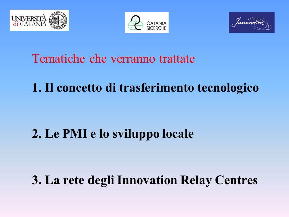 Tematiche che verranno trattate 1. Il concetto di trasferimento tecnologico 2. Le PMI e lo sviluppo locale 3. La rete degli Innovation Relay Centres