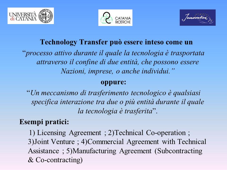 Technology Transfer può essere inteso come un processo attivo durante il quale la tecnologia è trasportata attraverso il confine di due entità, che po