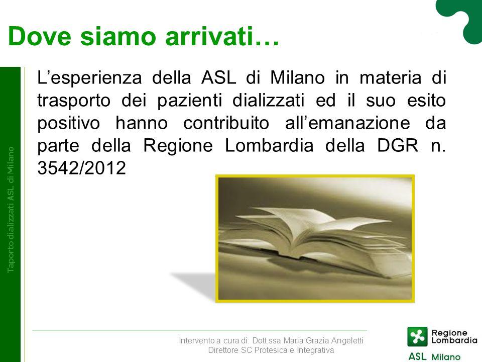 Dove siamo arrivati… Taporto dializzati ASL di Milano Lesperienza della ASL di Milano in materia di trasporto dei pazienti dializzati ed il suo esito