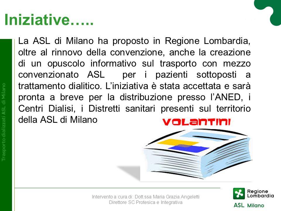 Iniziative….. Trasporto dializzati ASL di Milano La ASL di Milano ha proposto in Regione Lombardia, oltre al rinnovo della convenzione, anche la creaz