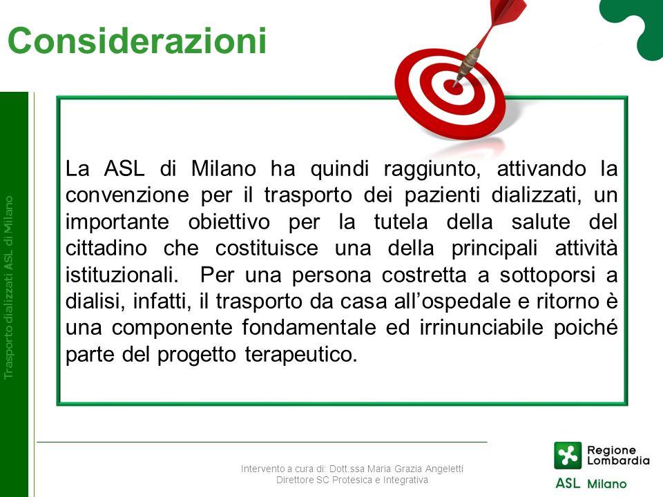 Considerazioni Trasporto dializzati ASL di Milano La ASL di Milano ha quindi raggiunto, attivando la convenzione per il trasporto dei pazienti dializz