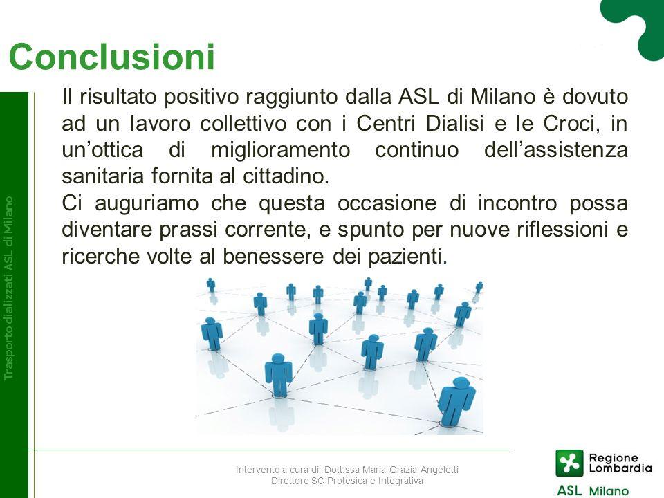 Conclusioni Trasporto dializzati ASL di Milano Il risultato positivo raggiunto dalla ASL di Milano è dovuto ad un lavoro collettivo con i Centri Diali
