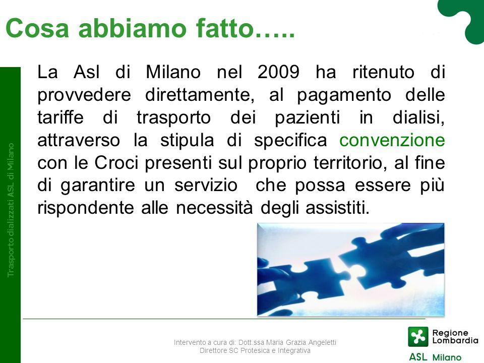 Trasporto dializzati ASL di Milano La Asl di Milano nel 2009 ha ritenuto di provvedere direttamente, al pagamento delle tariffe di trasporto dei pazie