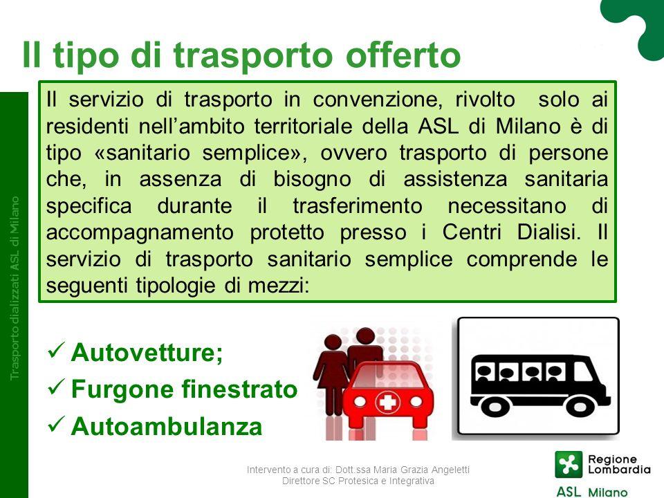 Il tipo di trasporto offerto Il servizio di trasporto in convenzione, rivolto solo ai residenti nellambito territoriale della ASL di Milano è di tipo