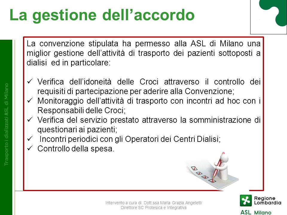 Considerazioni Trasporto dializzati ASL di Milano La ASL di Milano ha quindi raggiunto, attivando la convenzione per il trasporto dei pazienti dializzati, un importante obiettivo per la tutela della salute del cittadino che costituisce una della principali attività istituzionali.