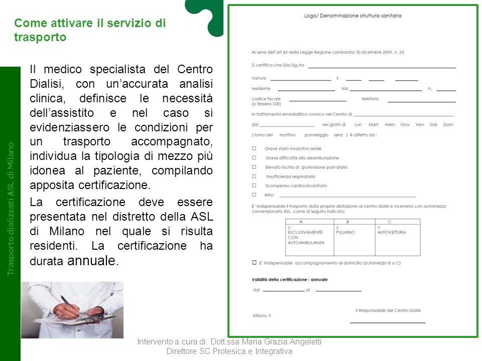 Conclusioni Trasporto dializzati ASL di Milano Il risultato positivo raggiunto dalla ASL di Milano è dovuto ad un lavoro collettivo con i Centri Dialisi e le Croci, in unottica di miglioramento continuo dellassistenza sanitaria fornita al cittadino.