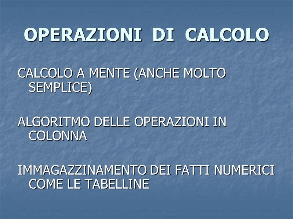 OPERAZIONI DI CALCOLO CALCOLO A MENTE (ANCHE MOLTO SEMPLICE) ALGORITMO DELLE OPERAZIONI IN COLONNA IMMAGAZZINAMENTO DEI FATTI NUMERICI COME LE TABELLI