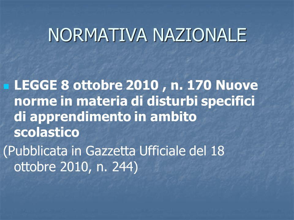 NORMATIVA NAZIONALE LEGGE 8 ottobre 2010, n. 170 Nuove norme in materia di disturbi specifici di apprendimento in ambito scolastico (Pubblicata in Gaz