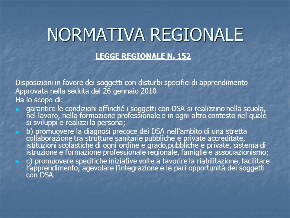 NORMATIVA REGIONALE LEGGE REGIONALE N. 152 Disposizioni in favore dei soggetti con disturbi specifici di apprendimento Approvata nella seduta del 26 g