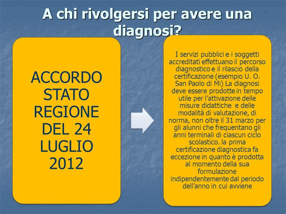 A chi rivolgersi per avere una diagnosi? ACCORDO STATO REGIONE DEL 24 LUGLIO 2012 I servizi pubblici e i soggetti accreditati effettuano il percorso d