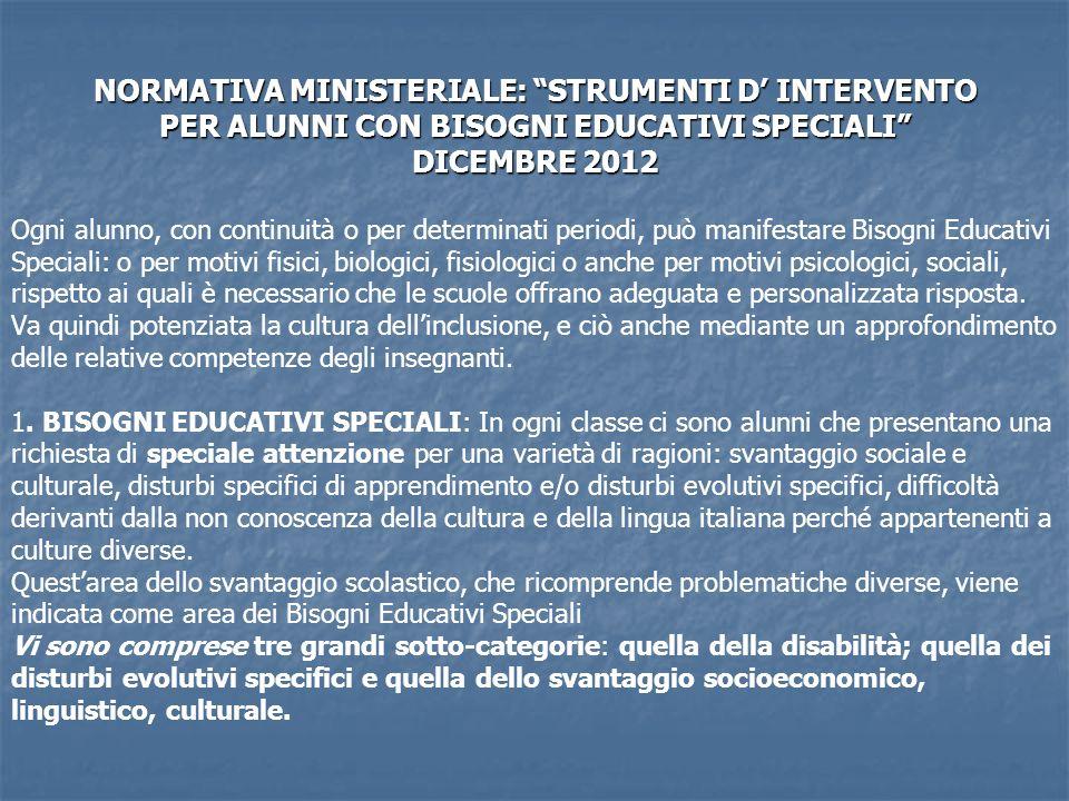NORMATIVA MINISTERIALE: STRUMENTI D INTERVENTO PER ALUNNI CON BISOGNI EDUCATIVI SPECIALI DICEMBRE 2012 Ogni alunno, con continuità o per determinati p