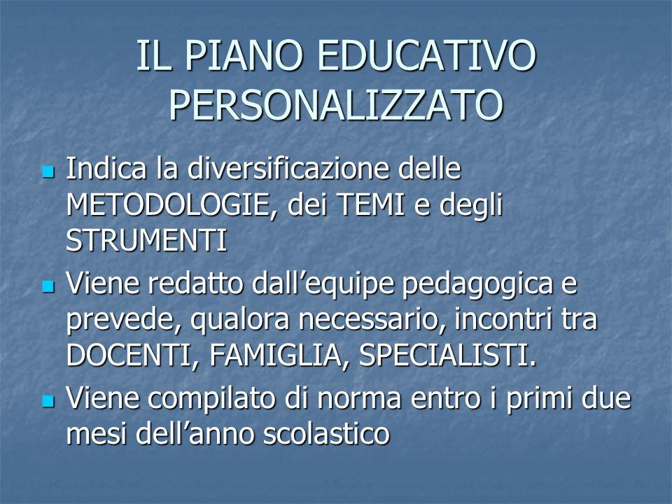 IL PIANO EDUCATIVO PERSONALIZZATO Indica la diversificazione delle METODOLOGIE, dei TEMI e degli STRUMENTI Indica la diversificazione delle METODOLOGI