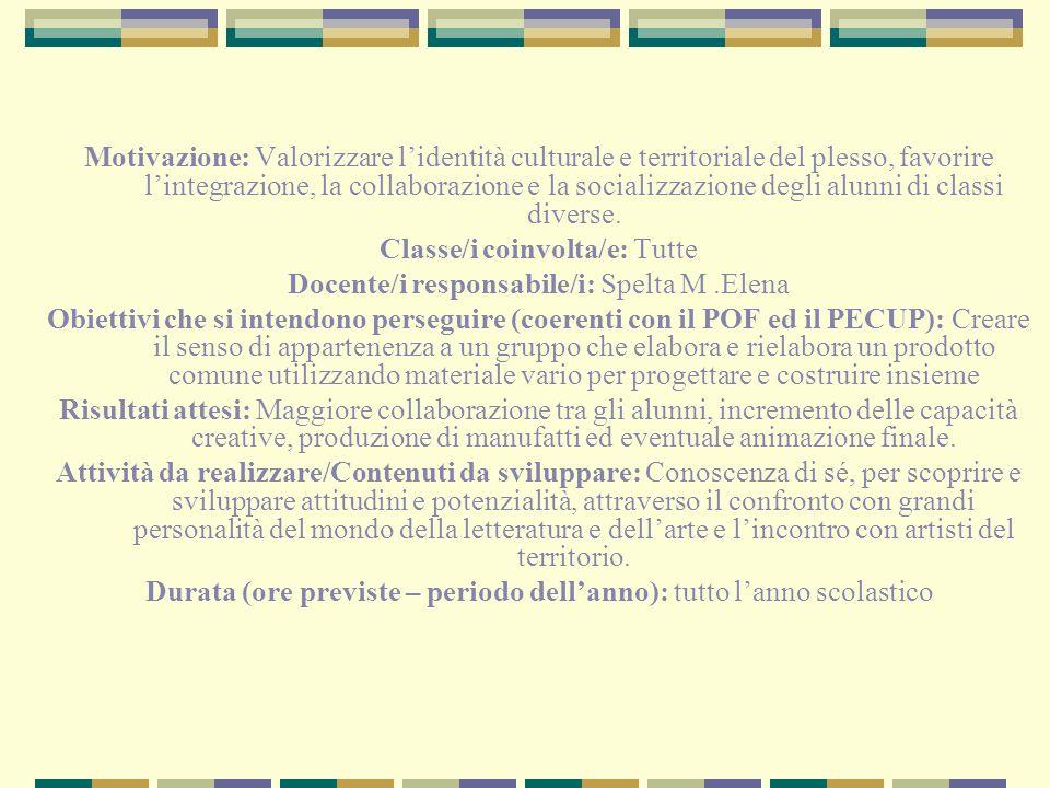 Motivazione: Valorizzare lidentità culturale e territoriale del plesso, favorire lintegrazione, la collaborazione e la socializzazione degli alunni di