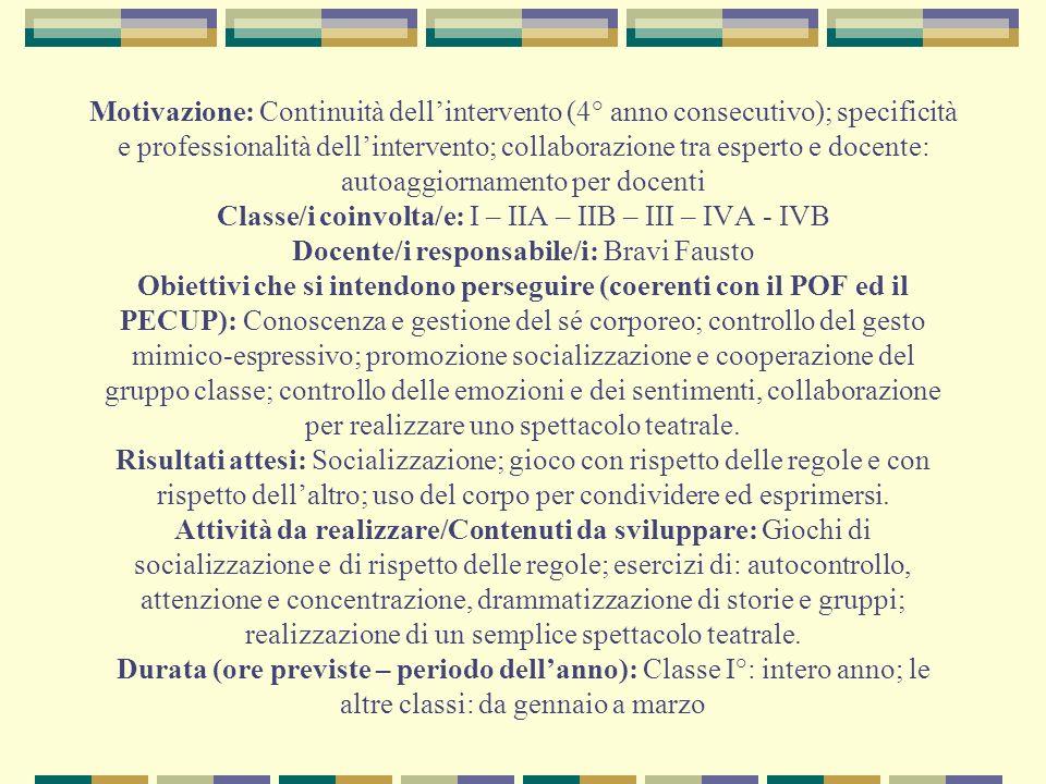 Motivazione: Continuità dellintervento (4° anno consecutivo); specificità e professionalità dellintervento; collaborazione tra esperto e docente: auto