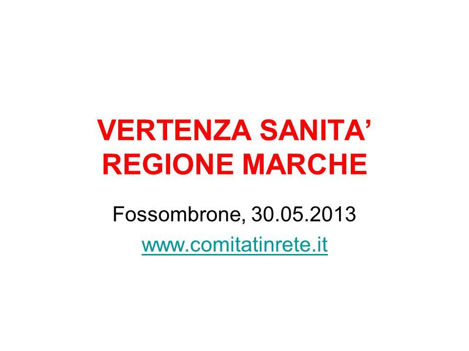 VERTENZA SANITA REGIONE MARCHE Fossombrone, 30.05.2013 www.comitatinrete.it