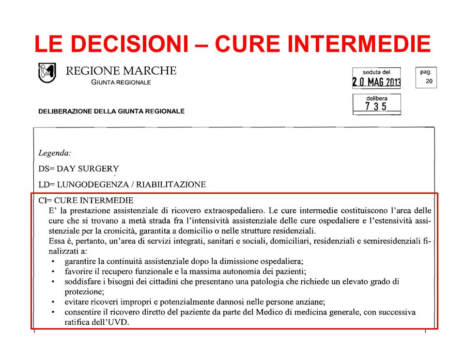 LE DECISIONI – CURE INTERMEDIE