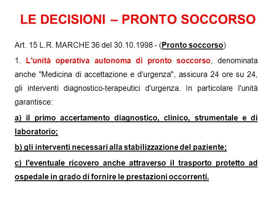 LE DECISIONI – PRONTO SOCCORSO Art. 15 L.R. MARCHE 36 del 30.10.1998 - (Pronto soccorso) 1. L'unità operativa autonoma di pronto soccorso, denominata