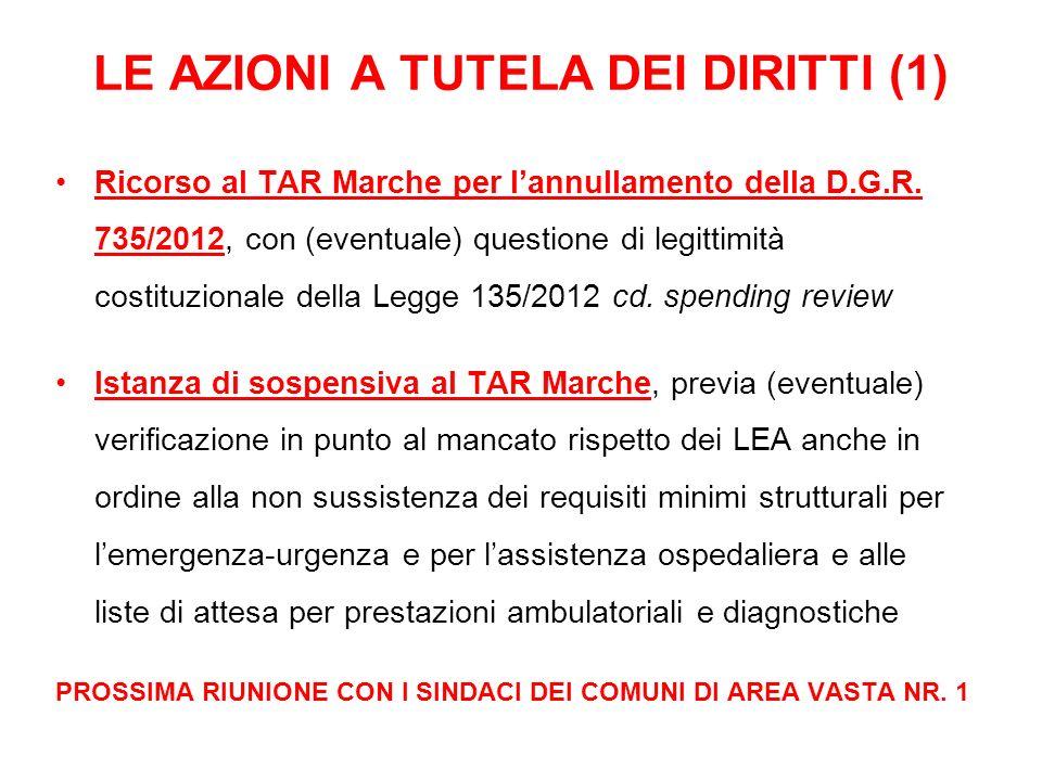 LE AZIONI A TUTELA DEI DIRITTI (1) Ricorso al TAR Marche per lannullamento della D.G.R. 735/2012, con (eventuale) questione di legittimità costituzion