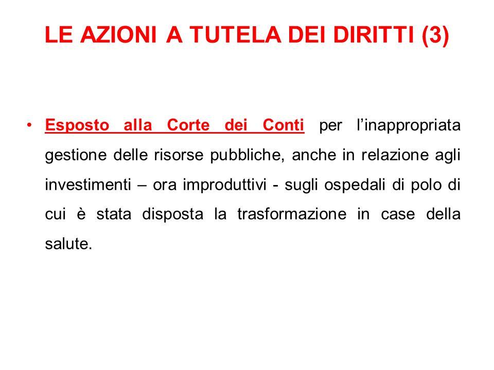 LE AZIONI A TUTELA DEI DIRITTI (3) Esposto alla Corte dei Conti per linappropriata gestione delle risorse pubbliche, anche in relazione agli investime