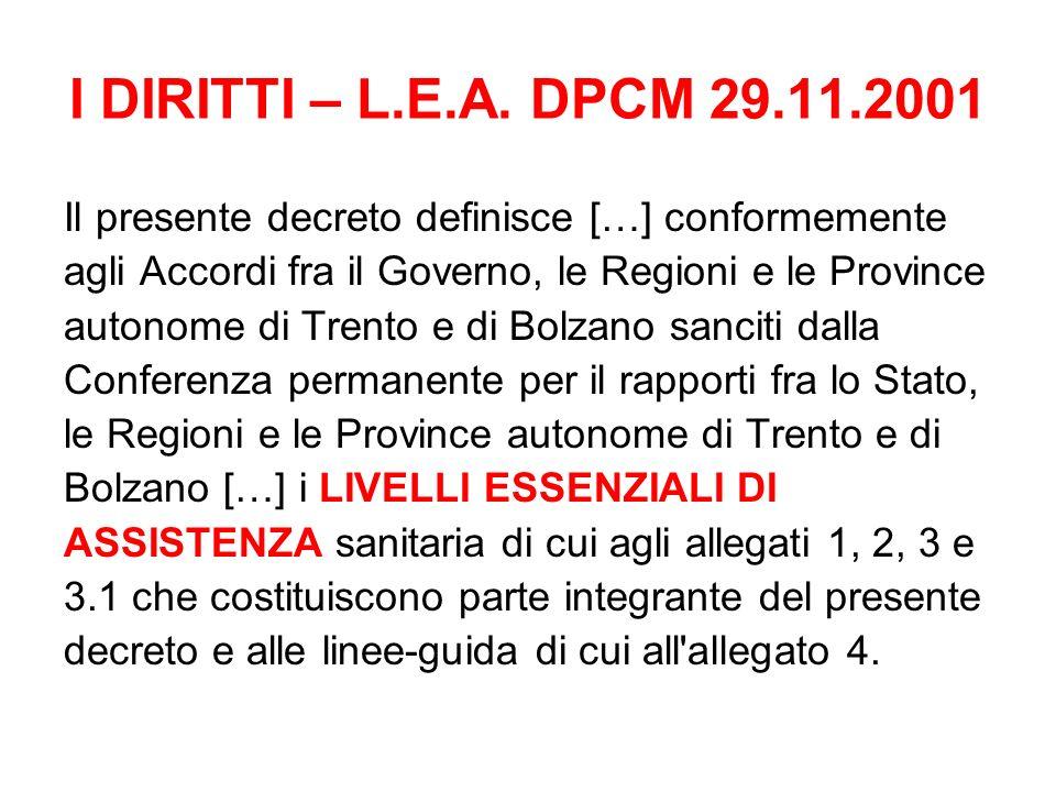 I DIRITTI – L.E.A. DPCM 29.11.2001 Il presente decreto definisce […] conformemente agli Accordi fra il Governo, le Regioni e le Province autonome di T