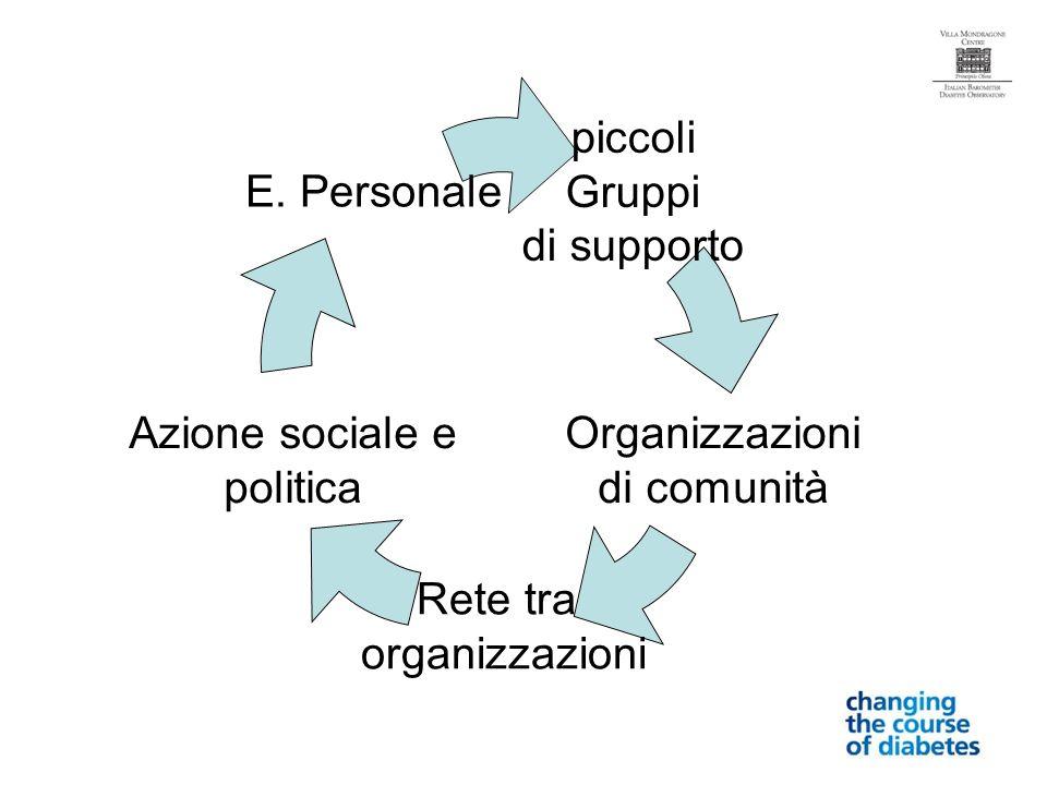 piccoli Gruppi di supporto Organizzazioni di comunità Rete tra organizzazioni Azione sociale e politica E.