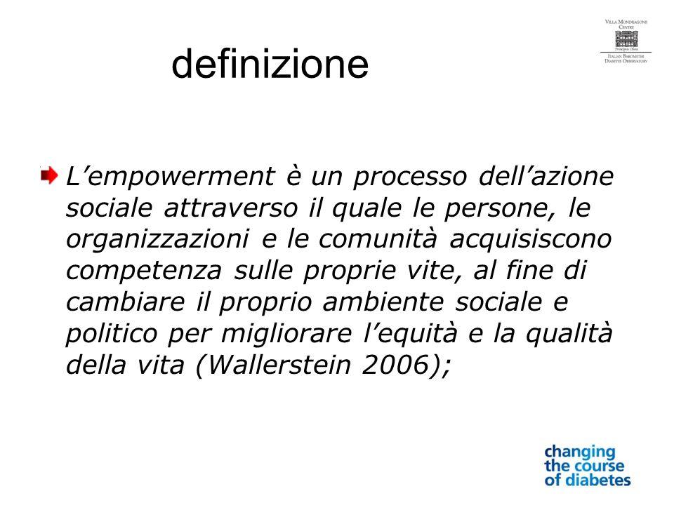 definizione Lempowerment è un processo dellazione sociale attraverso il quale le persone, le organizzazioni e le comunità acquisiscono competenza sulle proprie vite, al fine di cambiare il proprio ambiente sociale e politico per migliorare lequità e la qualità della vita (Wallerstein 2006);