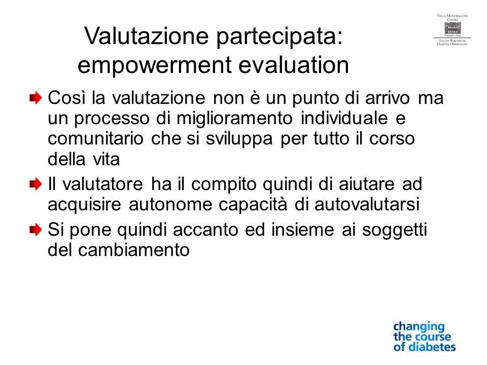 Così la valutazione non è un punto di arrivo ma un processo di miglioramento individuale e comunitario che si sviluppa per tutto il corso della vita Il valutatore ha il compito quindi di aiutare ad acquisire autonome capacità di autovalutarsi Si pone quindi accanto ed insieme ai soggetti del cambiamento Valutazione partecipata: empowerment evaluation