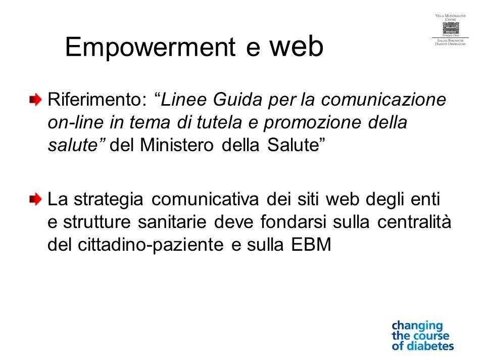 Empowerment e web Riferimento: Linee Guida per la comunicazione on-line in tema di tutela e promozione della salute del Ministero della Salute La strategia comunicativa dei siti web degli enti e strutture sanitarie deve fondarsi sulla centralità del cittadino-paziente e sulla EBM