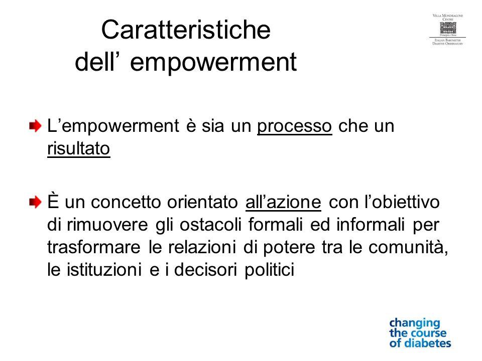 Caratteristiche dell empowerment Lempowerment è sia un processo che un risultato È un concetto orientato allazione con lobiettivo di rimuovere gli ostacoli formali ed informali per trasformare le relazioni di potere tra le comunità, le istituzioni e i decisori politici