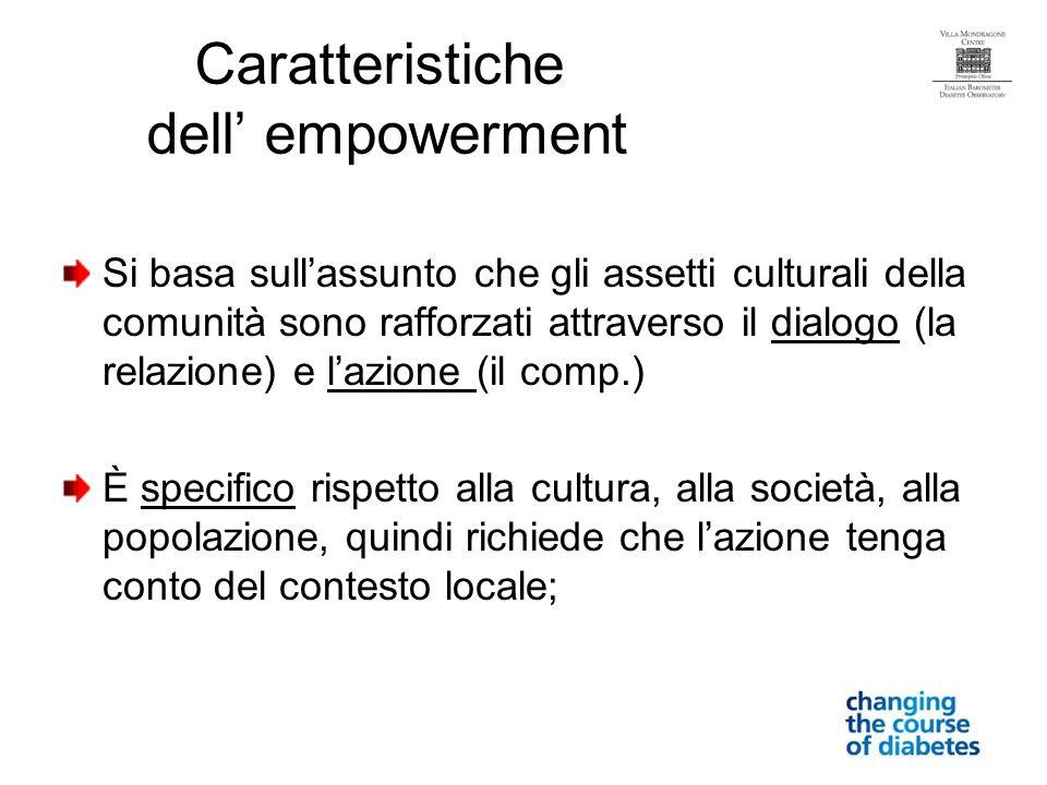 Si basa sullassunto che gli assetti culturali della comunità sono rafforzati attraverso il dialogo (la relazione) e lazione (il comp.) È specifico rispetto alla cultura, alla società, alla popolazione, quindi richiede che lazione tenga conto del contesto locale; Caratteristiche dell empowerment