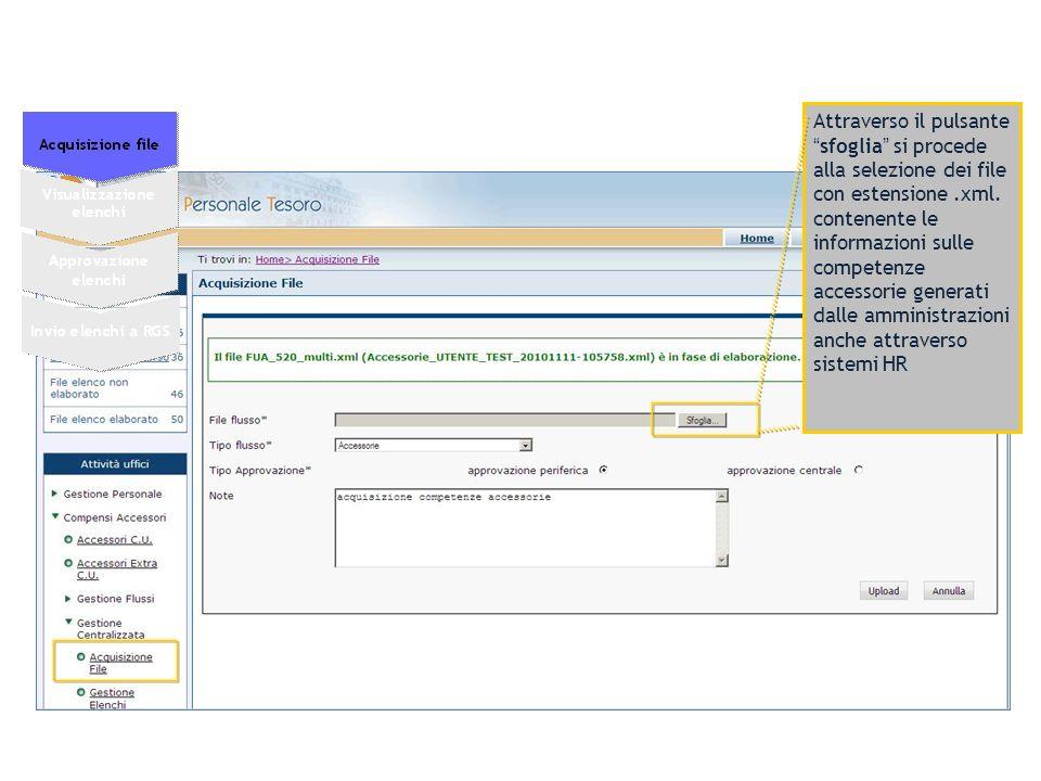 Attraverso il pulsantesfoglia si procede alla selezione dei file con estensione.xml. contenente le informazioni sulle competenze accessorie generati d