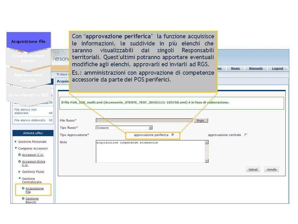 Con approvazione centrale la funzione acquisisce le informazioni, le suddivide in più elenchi che saranno visualizzabili dal Responsabile centrale.