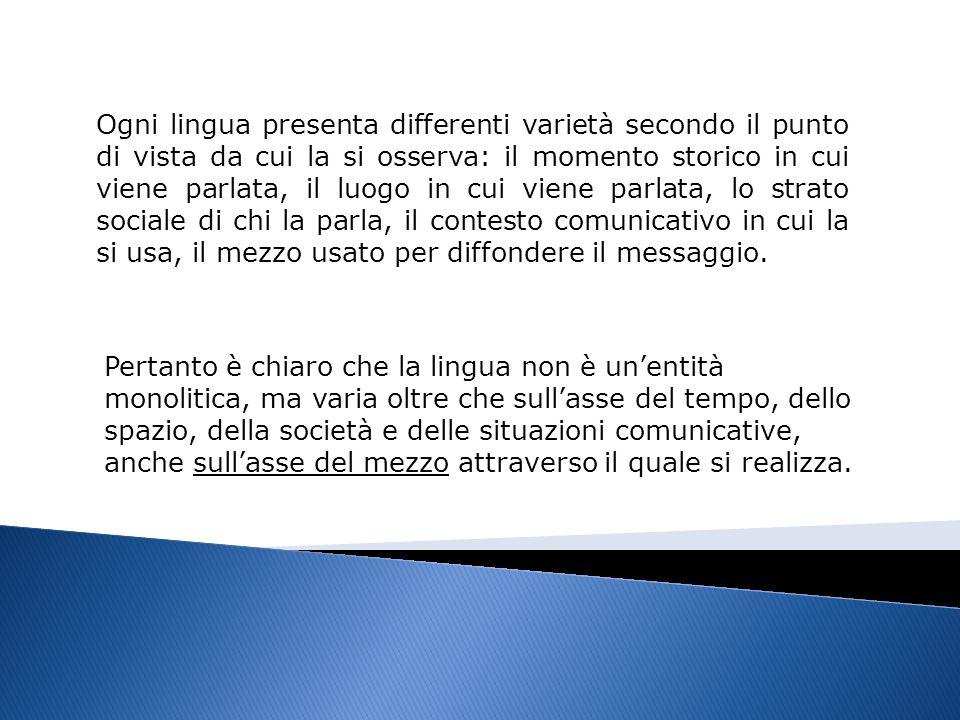 Il mezzo o canale di trasmissione (variabile diamesica) attraverso il quale si diffonde il messaggio è una delle variabili in base alle quali la lingua cambia.