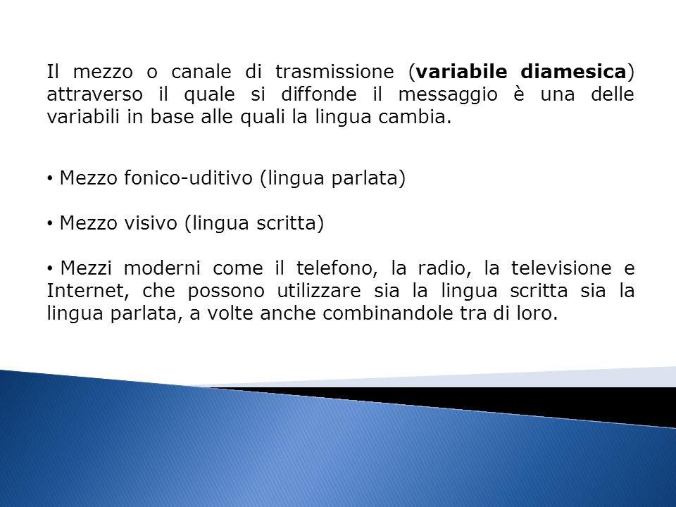 Il mezzo o canale di trasmissione (variabile diamesica) attraverso il quale si diffonde il messaggio è una delle variabili in base alle quali la lingu