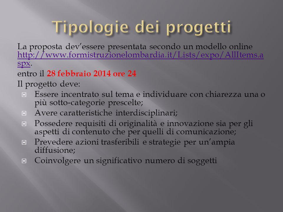 La proposta devessere presentata secondo un modello online http://www.formistruzionelombardia.it/Lists/expo/AllItems.a spx. http://www.formistruzionel