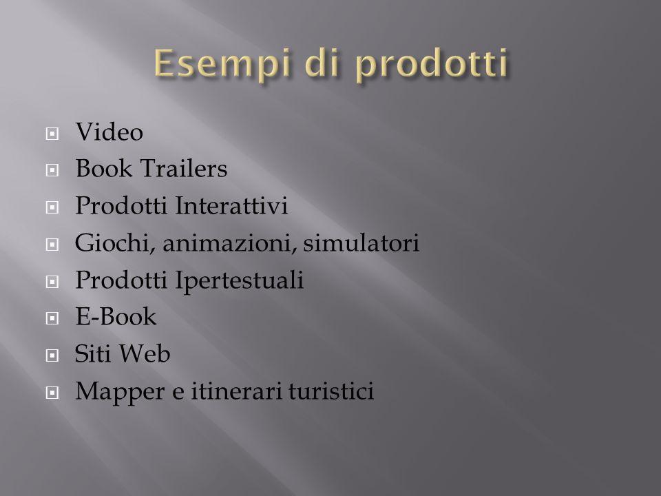 Video Book Trailers Prodotti Interattivi Giochi, animazioni, simulatori Prodotti Ipertestuali E-Book Siti Web Mapper e itinerari turistici