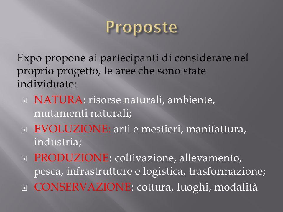 Expo propone ai partecipanti di considerare nel proprio progetto, le aree che sono state individuate: NATURA: risorse naturali, ambiente, mutamenti na