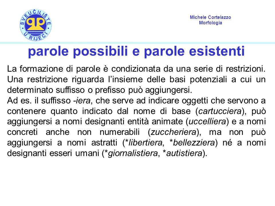 Michele Cortelazzo Morfologia parole possibili e parole esistenti La formazione di parole è condizionata da una serie di restrizioni. Una restrizione