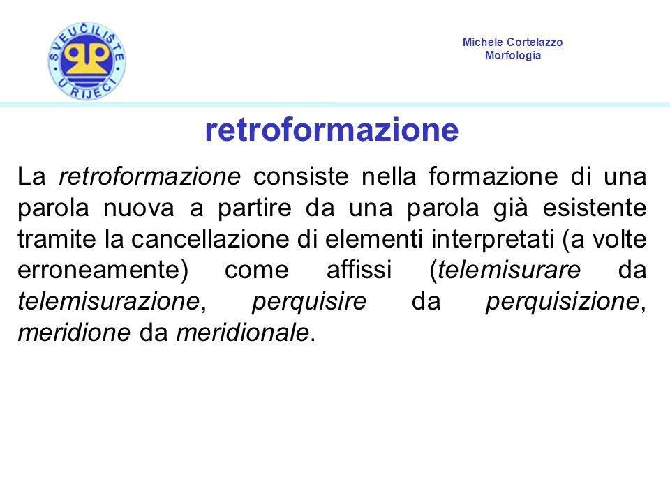 Michele Cortelazzo Morfologia retroformazione La retroformazione consiste nella formazione di una parola nuova a partire da una parola già esistente t