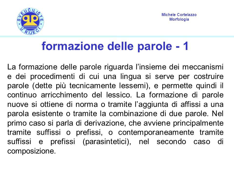 Michele Cortelazzo Morfologia formazione delle parole - 1 La formazione delle parole riguarda linsieme dei meccanismi e dei procedimenti di cui una li