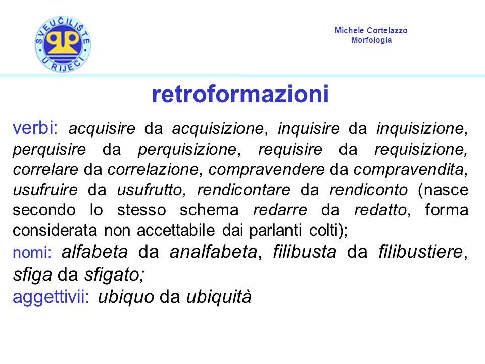 Michele Cortelazzo Morfologia retroformazioni verbi: acquisire da acquisizione, inquisire da inquisizione, perquisire da perquisizione, requisire da r