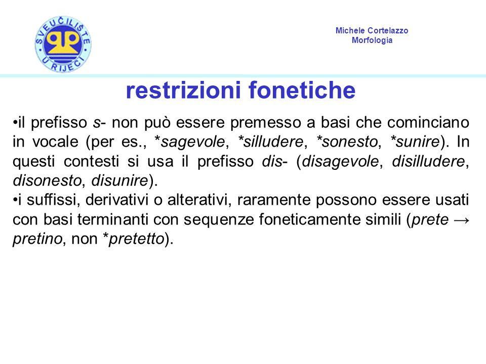Michele Cortelazzo Morfologia restrizioni fonetiche il prefisso s- non può essere premesso a basi che cominciano in vocale (per es., *sagevole, *sillu