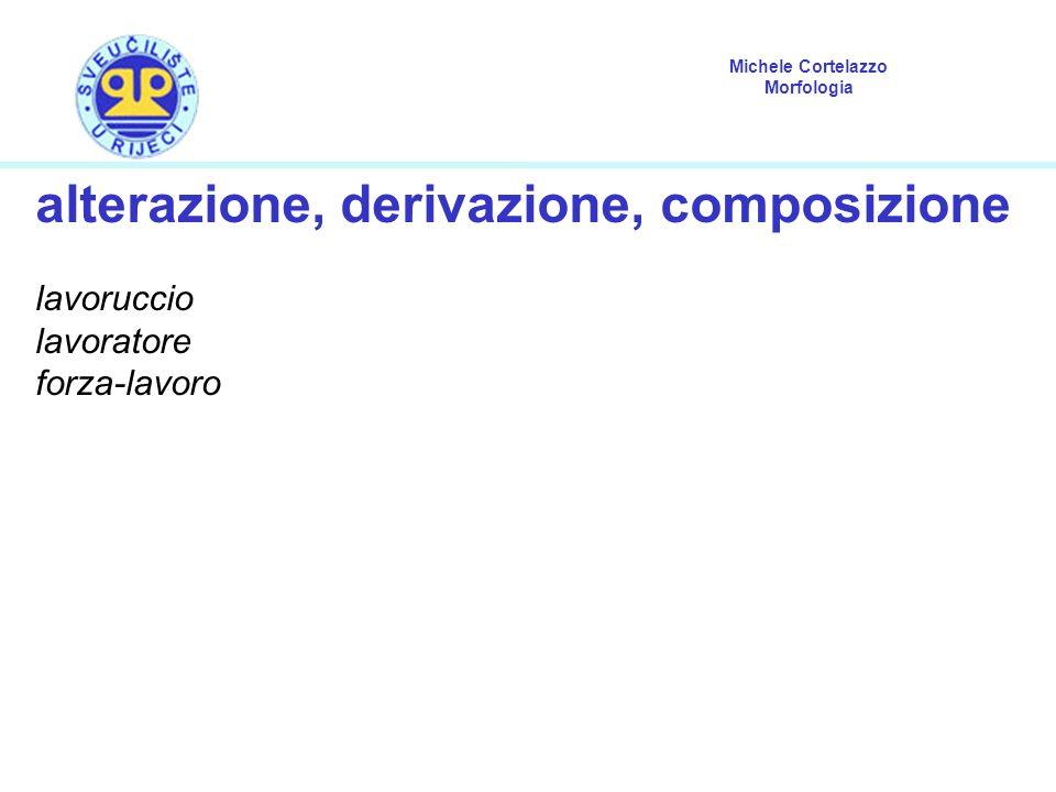 Michele Cortelazzo Morfologia alterazione «Processo morfologico derivativo che produce modificazioni formali sulla base con l aggiunta di uno o più suffissi, che precisano la sfera semantica connotativa espressa dalla base».