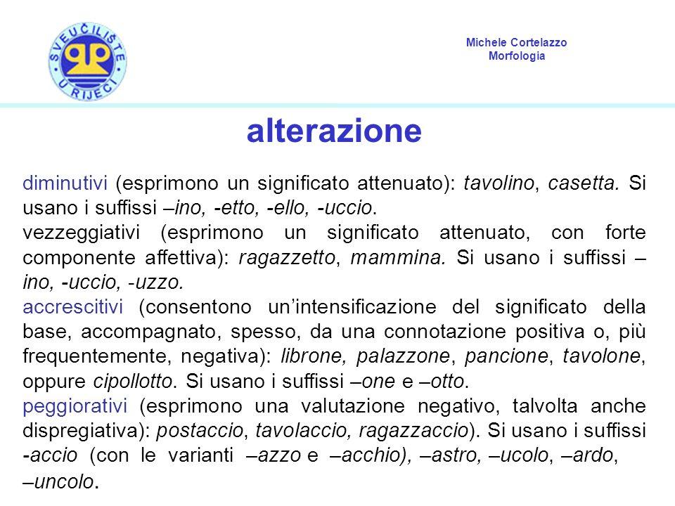Michele Cortelazzo Morfologia alterazione diminutivi (esprimono un significato attenuato): tavolino, casetta. Si usano i suffissi –ino, -etto, -ello,