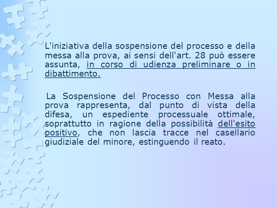 L'iniziativa della sospensione del processo e della messa alla prova, ai sensi dell'art. 28 può essere assunta, in corso di udienza preliminare o in d