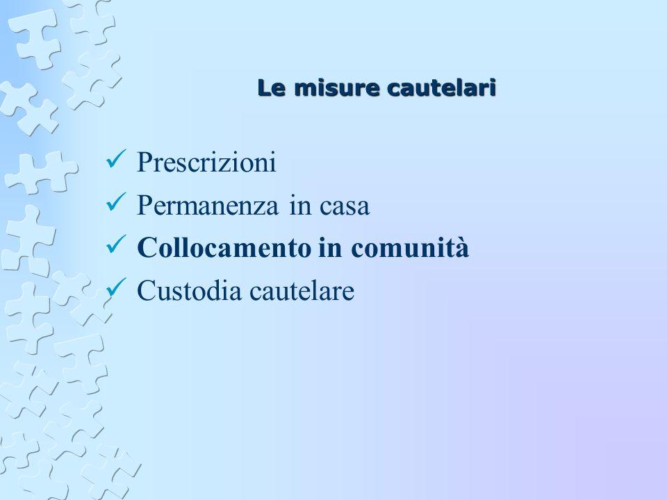 Le misure cautelari Prescrizioni Permanenza in casa Collocamento in comunità Custodia cautelare
