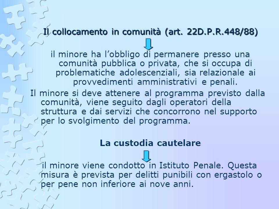 Il collocamento in comunità (art. 22D.P.R.448/88) il minore ha lobbligo di permanere presso una comunità pubblica o privata, che si occupa di problema
