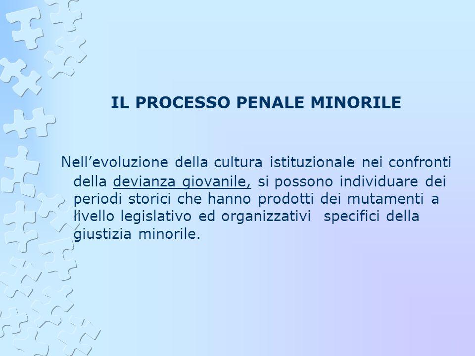 IL PROCESSO PENALE MINORILE Nellevoluzione della cultura istituzionale nei confronti della devianza giovanile, si possono individuare dei periodi stor