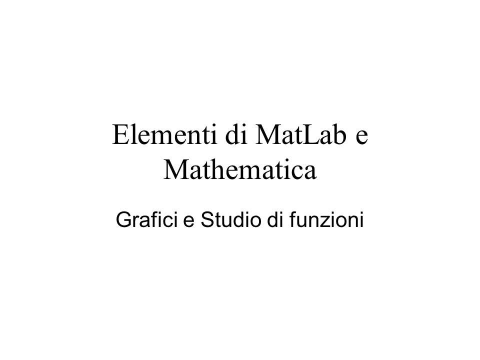Elementi di MatLab e Mathematica Grafici e Studio di funzioni