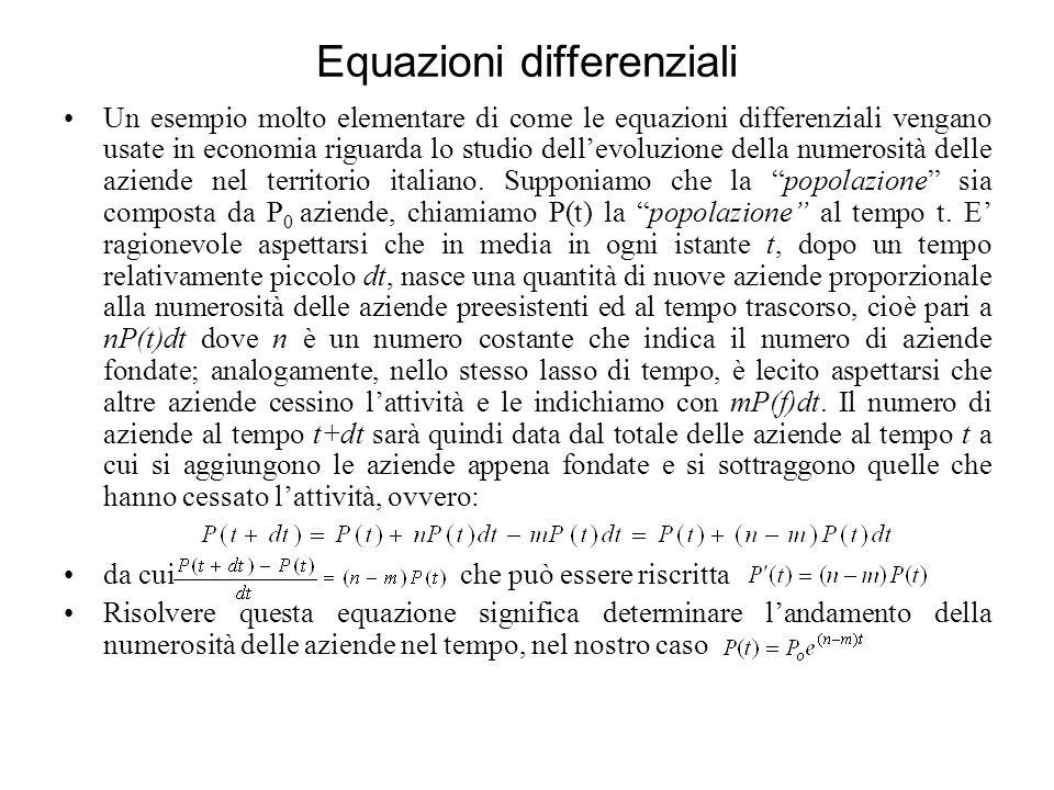 Equazioni differenziali Un esempio molto elementare di come le equazioni differenziali vengano usate in economia riguarda lo studio dellevoluzione della numerosità delle aziende nel territorio italiano.